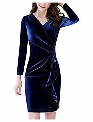 cheap -women's velvet long sleeve wrap dress cocktail vintage pencil wiggle fall ruched velvet dress blue