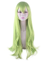 cheap -Cosplay Wig Dive Curly With Bangs Wig Long Green Synthetic Hair 30 inch Women's Anime Cosplay Easy to Carry Green