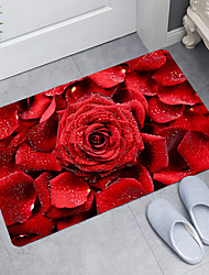 cheap -red rose petals digital printing floor mat modern bath mats nonwoven  memory foam novelty bathroom