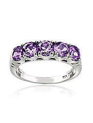 cheap -silver amethyst half eternity band ring for women
