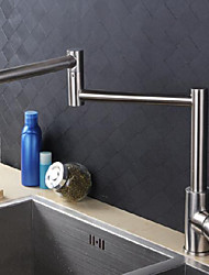 cheap -single handle kitchen faucet brushed one hole foldable widerspread stainless steel kitchen sink faucet