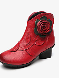cheap -women retro handmade flower leather ankle boots