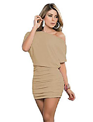 cheap -womens sexy off shoulder short sleeve casual pleated mini dress natural m