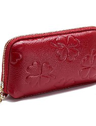 cheap -Women's Bags Cowhide Wallet Zipper Embossed Print Plain 2021 Daily Date Black Purple Red Blushing Pink