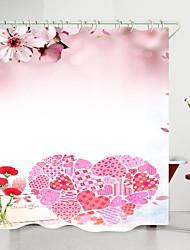 cheap -valentine's day flowers love heart digital printing shower curtain shower curtains  hooks modern polyester new design