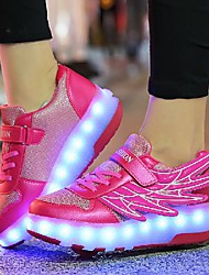 cheap -Boys' Girls' Trainers Athletic Shoes Comfort LED Shoes PU Light Up Shoes Little Kids(4-7ys) Big Kids(7years +) Daily Walking Shoes LED Black Blue Pink Fall Spring