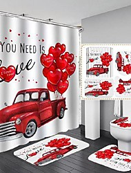 cheap -4pcs of new digital printing waterproof polyester shower curtain for valentine's day bathroom