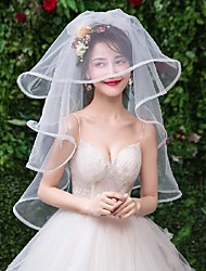 cheap -One-tier Comtemporary / Basic Wedding Veil Fingertip Veils with Solid 59.06 in (150cm) Tulle