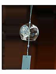 cheap -japanese edo furin wind chimes handmade glass gift for daddy mum new house birthday-blue flower