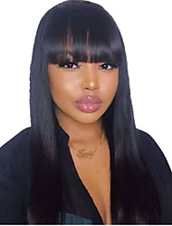 cheap -Human Hair Lace Front Wig With Bangs style Peruvian Hair Silky Straight Black Wig 130% Density Classic Women Fashion Women's Short Long Medium Length Human Hair Lace Wig Clytie / Very Long