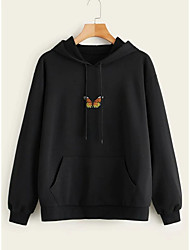 cheap -Women's Pullover Hoodie Sweatshirt Graphic Embroidery Front Pocket Daily Other Prints Basic Hoodies Sweatshirts  Cotton White Black Yellow