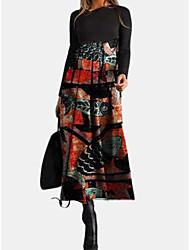 cheap -Women's Sweater Jumper Dress Maxi long Dress - Long Sleeve Color Block Floral Patchwork Print Spring Fall Casual 2020 Red Gray S M L XL XXL 3XL