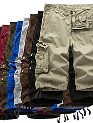 cheap -Men's Hiking Cargo Shorts Tactical Shorts Ventilation Wearproof Soft Summer Solid Colored Cotton for Fishing Hiking Outdoor Exercise White gray Dark Gray khaki 30 31 32 34 36