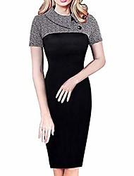 cheap -kimdera plus size women's dress retro floral printed short sleeve turndown collar button chic colorblock lapel career tunic dress grey