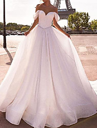 cheap -A-Line Wedding Dresses Off Shoulder Chapel Train Tulle Sleeveless Country with 2021