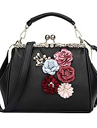 cheap -women vintage floral handbag kiss lock appliques party shoulder purse