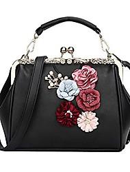 cheap -women vintage floral handbag kiss lock appliques party shoulder purse