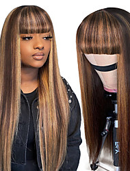 cheap -remy human hair wig long straight with bangs multi-color party women easy dressing capless brazilian hair malaysian hair all women's natural black #1b 12 inch 14 inch 16 inch