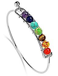 cheap -7 chakra silver plated handmade bracelets natural stone beads cuff