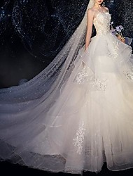 cheap -Princess Ball Gown Wedding Dresses Strapless Court Train Lace Tulle Sleeveless Formal Luxurious with Ruffles Appliques 2021
