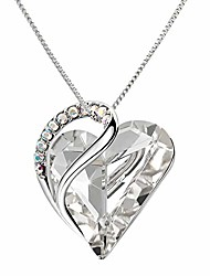 cheap -love heart pendant necklaces crystal jewelry gifts for women rhinestone silver chain with elegant box for party/anniversary day/birthday, white crystal
