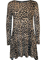 cheap -- ladies leopard animal print long sleeve flared top swing dress - leopard - 40-42