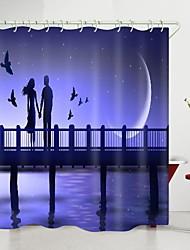 cheap -valentine's day bridge couple crescent moon digital printing shower curtain shower curtains  hooks modern polyester new design