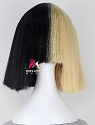 cheap -Synthetic Wig sia Straight With Bangs Wig Short Blonde Synthetic Hair 12 inch Women's Creative Cool Blonde