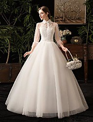 cheap -Princess Ball Gown Wedding Dresses High Neck Floor Length Lace Tulle 3/4 Length Sleeve Formal Romantic with Pleats Appliques 2020