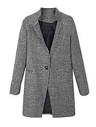 cheap -women slim winter warm wool lapel long houndstooth coat trench parka jacket overcoat outwear (l, black)