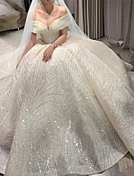 cheap -Princess Ball Gown Wedding Dresses Off Shoulder Chapel Train Lace Tulle Sequined Short Sleeve Formal Luxurious Sparkle & Shine with Pleats 2021