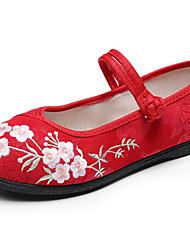 cheap -Women's Dance Shoes Modern Shoes Flat Flat Heel Black Red Beige Buckle Adults'