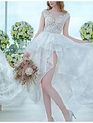 cheap -A-Line Wedding Dresses Jewel Neck Court Train Asymmetrical Lace Short Sleeve Country Romantic Cute with Appliques Cascading Ruffles 2021