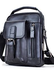 cheap -Men's Bags Soft Leather Cowhide Shoulder Messenger Bag Crossbody Bag Zipper Pocket Solid Color Daily Outdoor 2021 MessengerBag Black