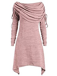 cheap -ladies office dress solid cocktail dresses half sleeves clothing skirt evening dresses foldover collar tunic tops dresses blouses plus size ladies fashion solid ruched long lace (pink, eu-34 / s)