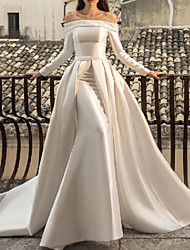 cheap -Sheath / Column Wedding Dresses Off Shoulder Sweep / Brush Train Detachable Satin Long Sleeve Country Simple with Beading 2020