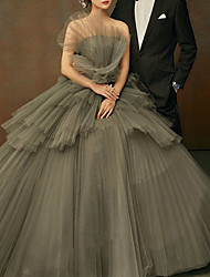 cheap -Ball Gown Luxurious Elegant Quinceanera Engagement Dress Strapless Sleeveless Floor Length Organza with Ruffles Tier 2020