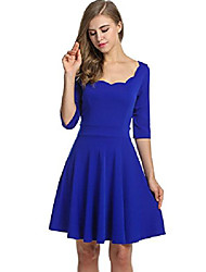 cheap -women's summer skater dress halterneck dress a-line bridesmaid dress evening dress cocktail dress party dress knee-length sleeveless stretch - blue - 10(manufacturer size: s)