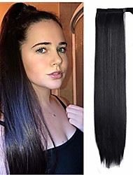 cheap -ponytail extension wrap around long straight clip in ponytails hair extensions for women 24 inch synthetic hairpiece (natural black 2#)
