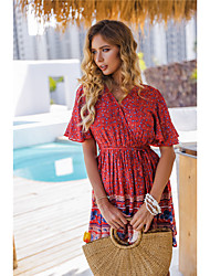 cheap -Plus Size Women's Sundress Short Mini Dress Short Sleeve Print Print Spring Mumu Cotton Blend Relaxed Fit cm to inches Big and tall