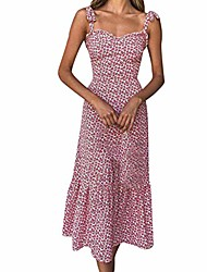 cheap -dress,womens holiday summer floral print sleeveless casual sexy party beach dresses for women(small,red)