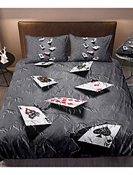 cheap -3d poker print 3-piece duvet cover set hotel bedding sets comforter cover with soft lightweight microfiber, include 1 duvet cover, 2 pillowcases for double/queen/king(1 pillowcase for twin/single)
