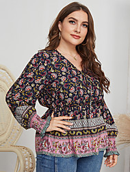 cheap -Women's Plus Size Tops Blouse Floral Large Size V Neck Long Sleeve Big Size
