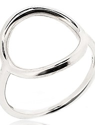 cheap -open circle ring for women 925 sterling silver rhodium plated - simple, stylish &trendy nickel free ring, size 8