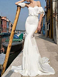 cheap -Mermaid / Trumpet Wedding Dresses Strapless Sweep / Brush Train Italy Satin Short Sleeve Simple with 2021