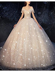cheap -Princess Ball Gown Wedding Dresses Off Shoulder Chapel Train Lace Tulle Sequined Short Sleeve Formal Romantic Luxurious Sparkle & Shine with Beading Tassel 2021