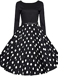 cheap -50s vintage rockabilly polka dots retro polka dots hepburn style after the v-neck with long sleeves dress swing cocktail dress black xl
