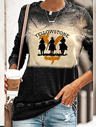 cheap -Women's Plus Size Tops T shirt Print Letter Large Size Round Neck Long Sleeve Big Size