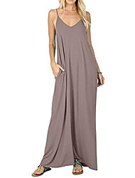 cheap -summer dress women long maxi dresses summer v-neck sleeveless dress spaghetti straps adjustable with pockets beach dresses casual dress strap dress