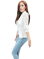 cheap -sexy women long sleeve summer lace crochet small work blazer lightweight jacket for party outwear plus size 10-20 (l, white)